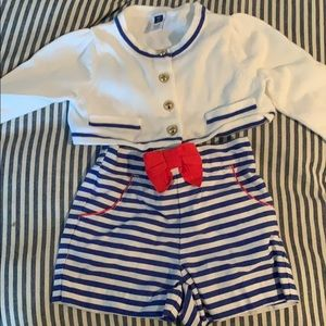 Janie and Jack sailor shorts and cardigan
